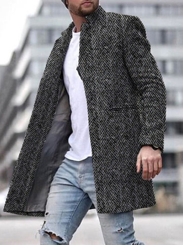 Stylish Texture Long Warm Coat