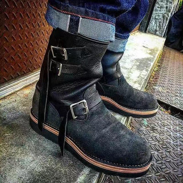 Solid Color Flat Frosted Strap Casual Men's Cotton Boots