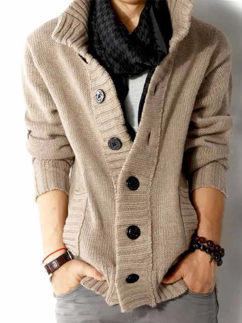 Men's Knitted Stand Collar Cardigan Solid Color Long Sleeve Jacket