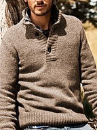 Men's Lapel Slim Casual Pullover Trendy Sweater