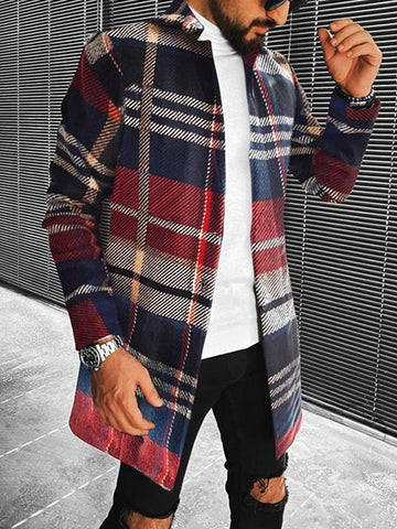 Plaid Striped Mid-length Coat with Stand-up Collar