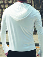 Men's Solid Color Casual Sports Hooded Long Sleeve T-shirt
