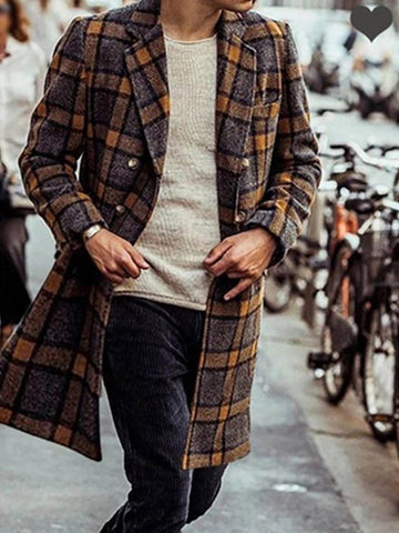 Long Sleeve Mid-length Plaid Woolen Men's Coat Jacket