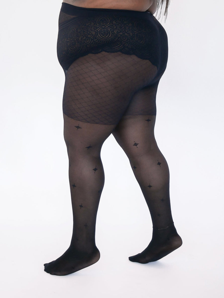 Sheer Eco Diamond Patterned Tights