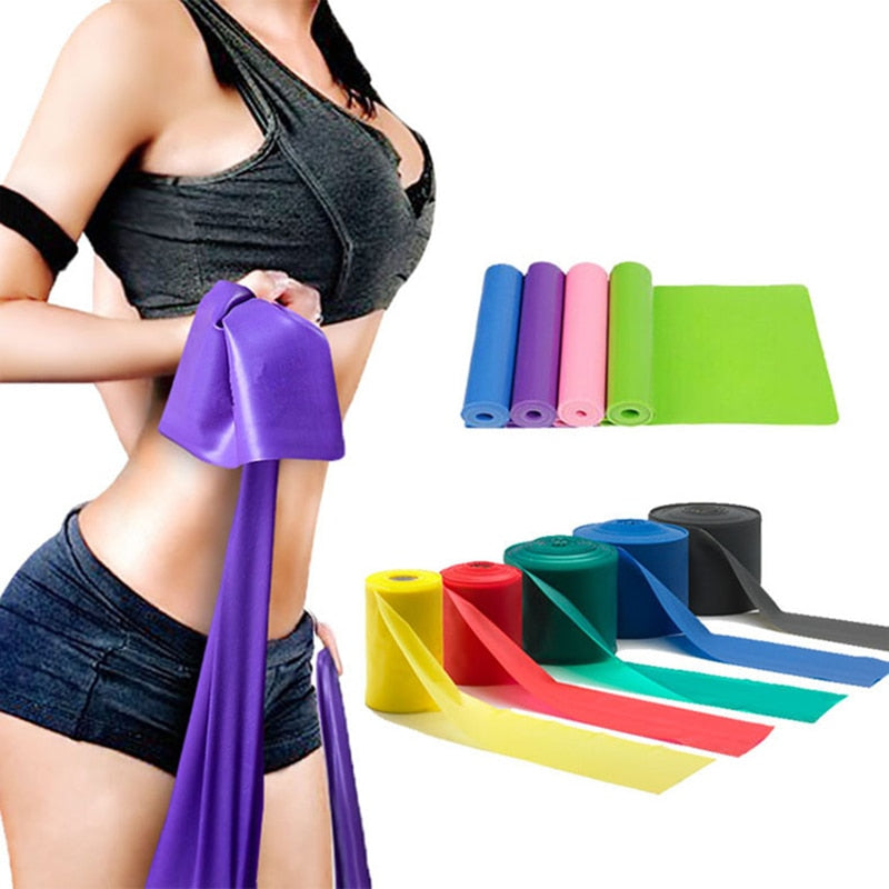 Yoga Pilates Stretch Resistance Band Exercise Fitness Band Training Elastic Exercise Fitness Rubber 150cm natural rubber