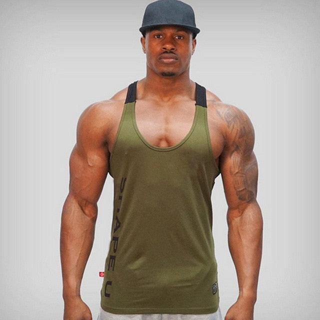 Solid Gym Men Stringer Tank Top Bodybuilding Fitness Singlets Muscle Vest Tee