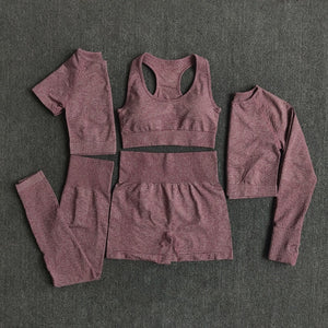 2/3/5PCS Seamless Women Yoga Set Workout Sportswear Gym Clothing Fitness Long Sleeve Crop Top High Waist Leggings Sports Suits