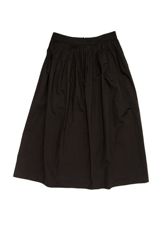 Midi Cotton Sateen Skirt - Black