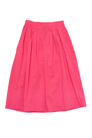 Midi Cotton Sateen Skirt - Pink