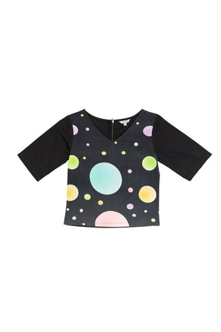 Circles Cotton Top - Black