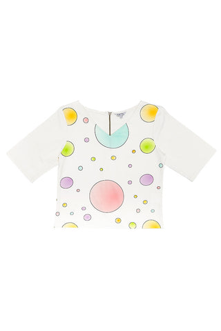 Circles Cotton Top - White