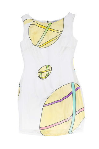 Discs Play Graphic Print Dress - White