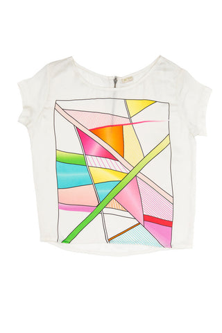 Geometrical Digital Print Top - White