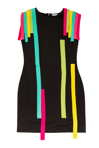 Rainbow Stripes Dress - Black
