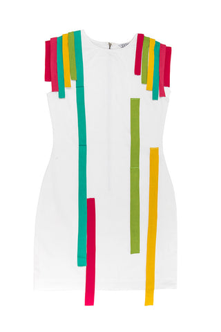 Rainbow Stripes Dress - White
