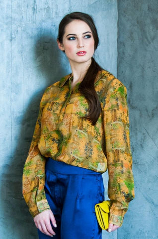 DIGITAL PRINTED BLOUSE-  EARTH MOSAIC