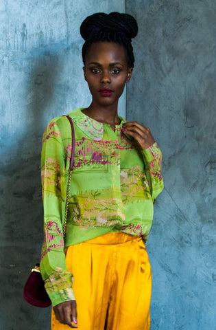 DIGITAL PRINTED BLOUSE-  GREEN VINTAGE