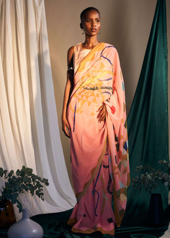Yantra/ Geometry Saree - Soft Pink