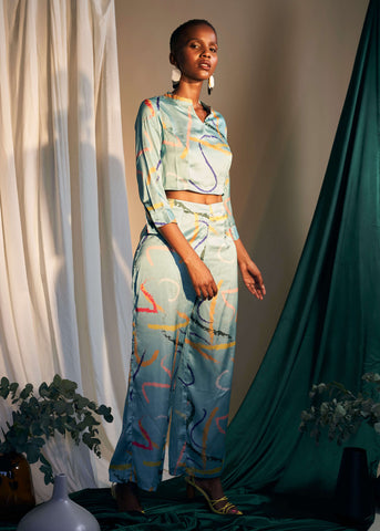 Dreamy Lounge Palazzo Trousers- Scribbles Print