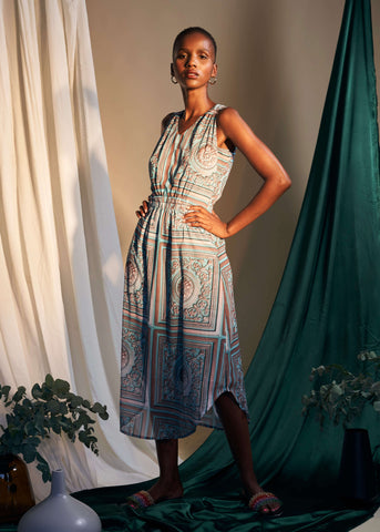 Contemplation Dress- Rustic Tile Print