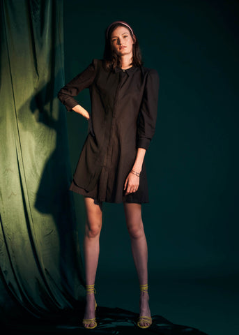 Layered Stories Shirt Dress- Black