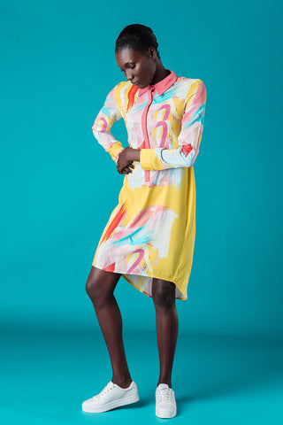 WATERCOLOUR PRINT SHIRT DRESS