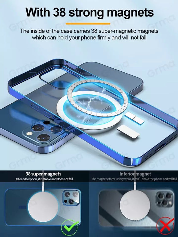 Grma Mag Magnetic Safe Transparent Clear Electroplating Frame Phone Case for Apple iPhone 12 Pro Max 12 Mini Hard Back Cover