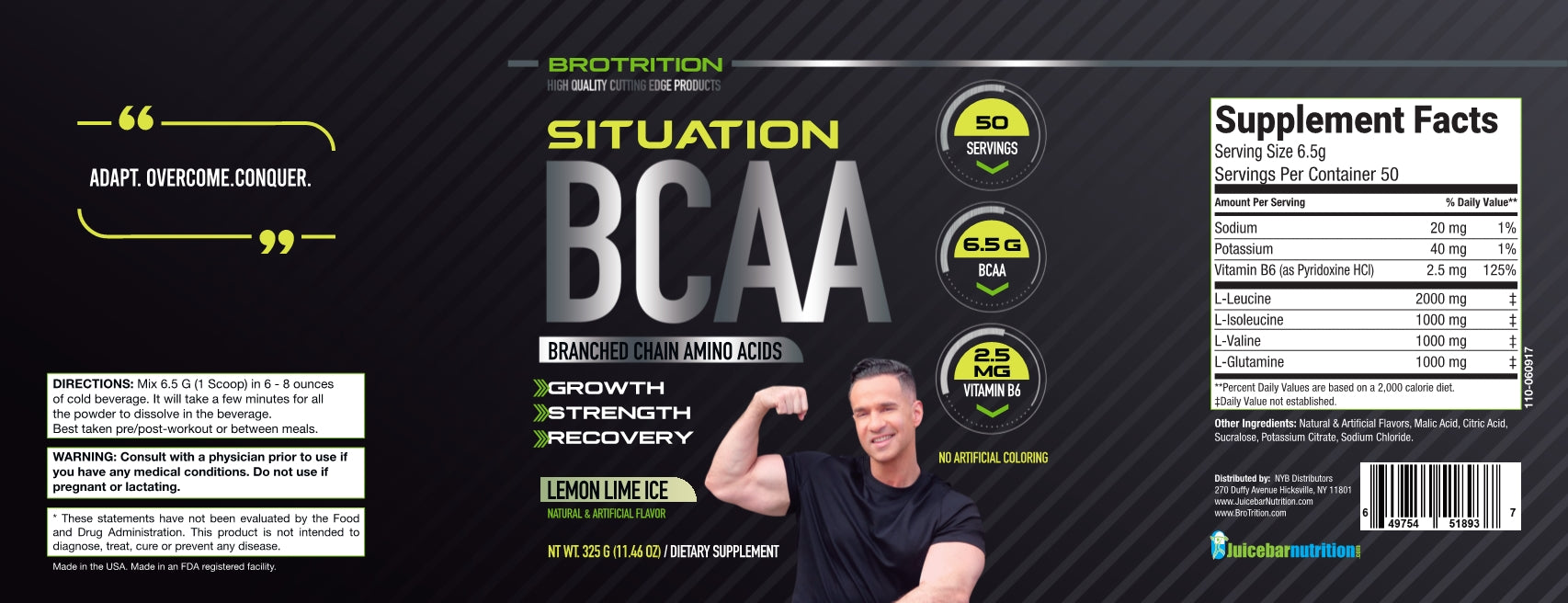 BCAA Lemon Lime Ice label