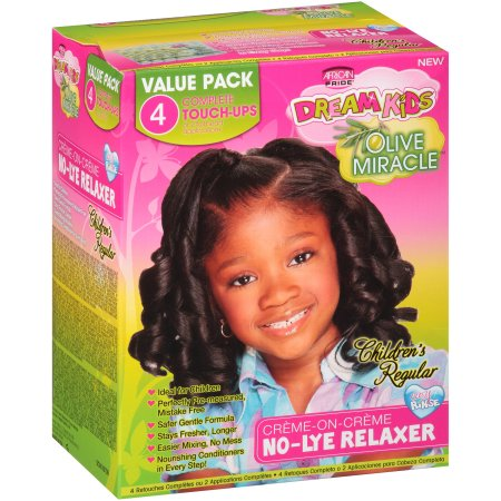 African Pride Dream Kids No-Lye Creme Relaxer System Kit App – Regular  1/ 4 Touch-Up