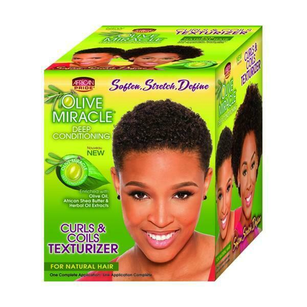 African Pride Olive Miracle Curls and Coils Texturizer Kit