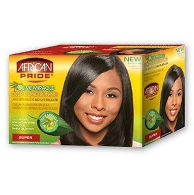 African Pride Olive Miracle No-Lye Relaxer 1App Kit - Super