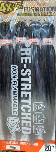 "Pre-Stretch Natural Touch Braid.  4x Value Pack (4 bundles). Length 20"". Model Model Glance Formation Braid."