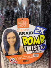 "Model model 2X BOMB Twist 10"", 24 Strands."
