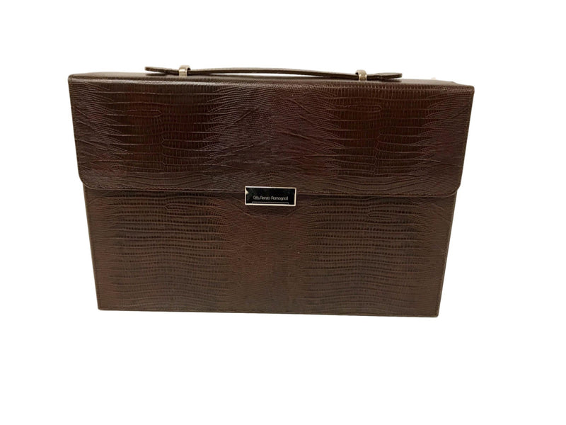Backgammon Attaché-case - Lézard marron