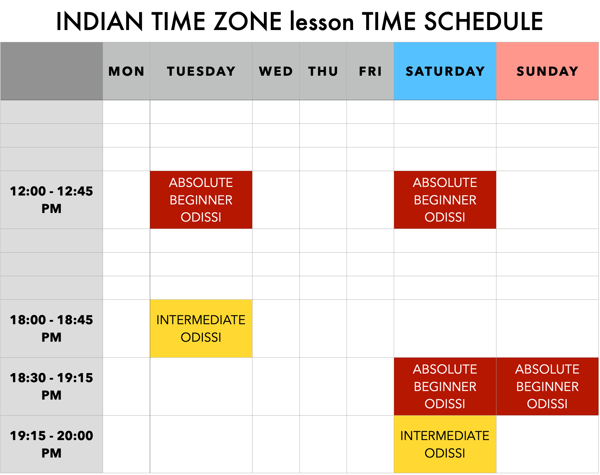 INDIAN TIME MOPA ODISSI zoom lessons weekly schedule