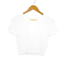 Load image into Gallery viewer, Plain White Women's Crop-Top