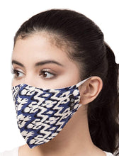 Load image into Gallery viewer, BEYOND WORDS PRE- SANITIZED READY TO WEAR FASHION MASK BLUE TRIBAL PRINT