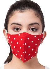Load image into Gallery viewer, BEYOND WORDS PRE- SANITIZED READY TO WEAR FASHION MASK RED/WHITE POLKA DOT