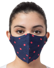 Load image into Gallery viewer, BEYOND WORDS PRE- SANITIZED READY TO WEAR FASHION MASK NAVY/PINK POLKA DOT