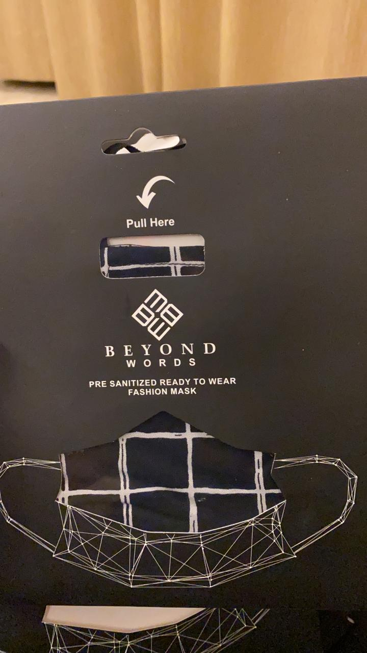 BEYOND WORDS PRE- SANITIZED READY TO WEAR FASHION MASK BLACK/WHITE CHECK PRINT