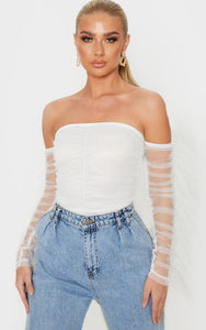 White Mesh Frill Sleeve Bardot Bodysuit - fashion.type.com