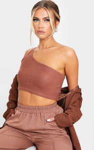 Brown Brushed Rib One Shoulder Crop Top - fashion.type.com