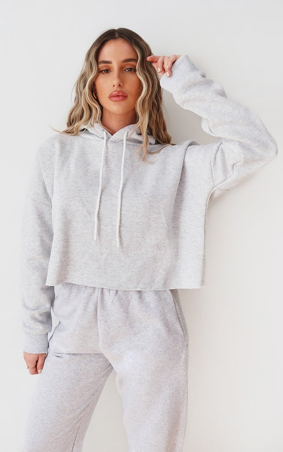 Plt Grey Marl Embroidered Cropped Slogan Hoodie - fashion.type.com