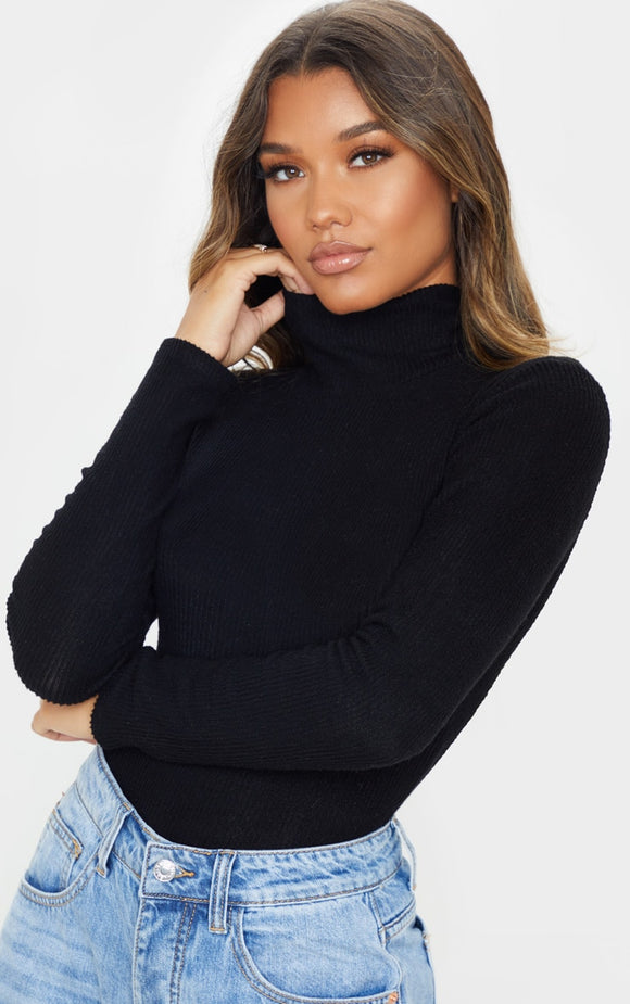 Black Brushed Rib Roll Neck Long Sleeve Bodysuit - fashion.type.com