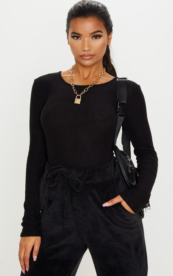 Black Brushed Rib Crew Neck Long Sleeve Bodysuit - fashion.type.com