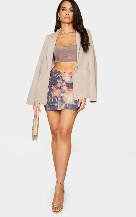 PRETTYLITTLETHING Monogram Flame Print Slinky Ruched Front Mini Skirt - fashion.type.com