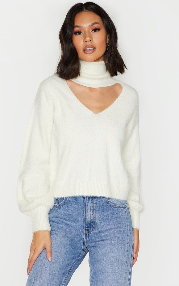 Cream Eyelash Choker Detail Wide Sleeve Jumper - fashion.type.com