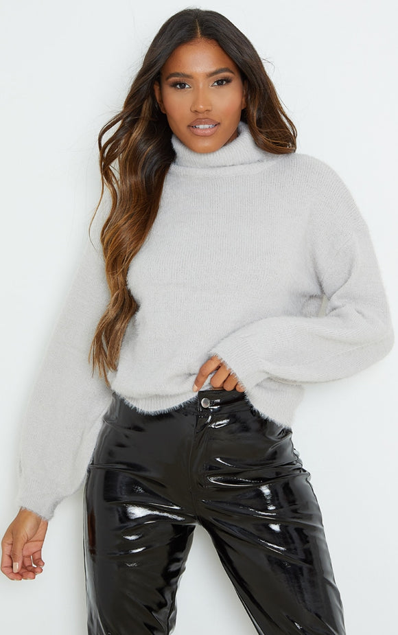 Grey Roll Neck Balloon Sleeve Eyelash Knit Jumper - fashion.type.com