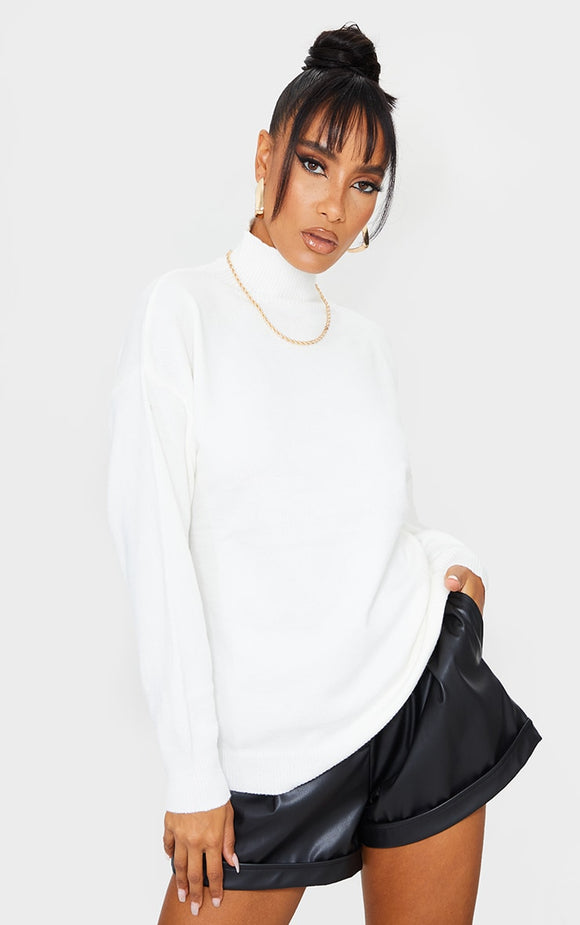 Cream Soft Knit Funnel Neck Jumper - fashion.type.com