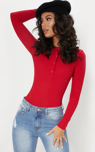 Red Long Rib Popper Bodysuit - fashion.type.com